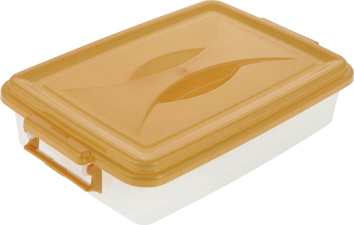 """Контейнер """"Альтернатива"""" выполнен из прочного пластика. Он предназначен для хранения различных мелких вещей.Крышка легко открывается и плотно закрывается. Прозрачные стенки позволяют видеть содержимое. По бокам предусмотрены две удобные ручки, с помощью которых контейнер закрывается.Контейнер поможет хранить все в одном месте, а также защитить вещи от пыли, грязи и влаги.Размеры (с крышкой): 38 х 23 х 8 см."""