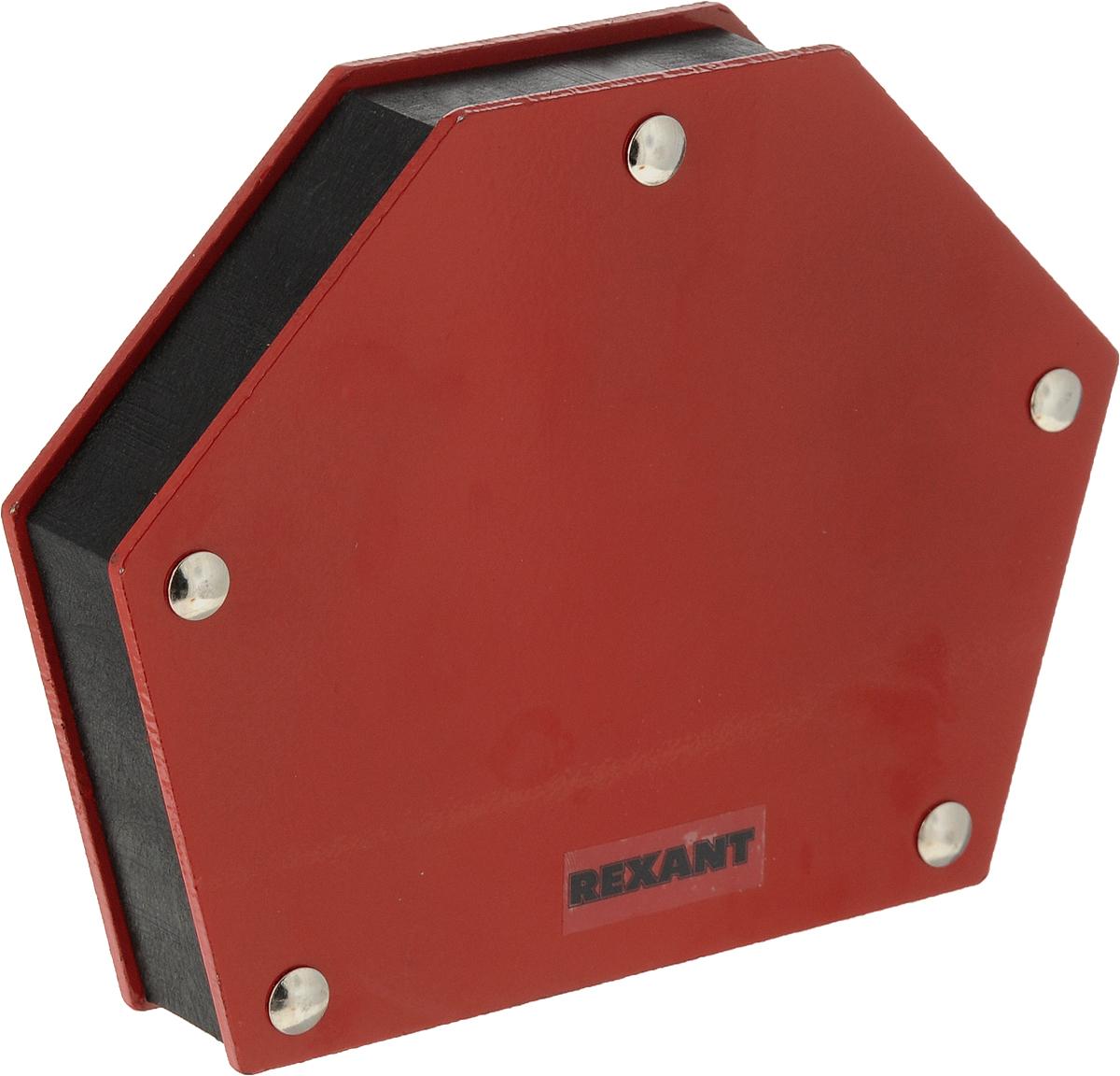 Магнитный угольник Rexant, держатель для сварки на 6 углов, усилие 34 кг12-4833Магнитный угольник держатель для сварки на 6 углов усилие 34 Кг Rexant, предназначен для фиксации металлических деталей при сварке, пайке и сборке конструкций. Применяется для работы с круглыми и прямоугольными трубами, полосами, уголками, профилями, листовым, сплошным и другими видами металла. Угольник быстро и надежно соединяет детали, сокращает время работы, облегчает монтаж и заменяет громоздкие зажимы и неудобные струбцины. Углы: 30°, 45°, 60°, 75°, 90°, 135°.Максимальное усилие — 34 кг (75 Lbs)