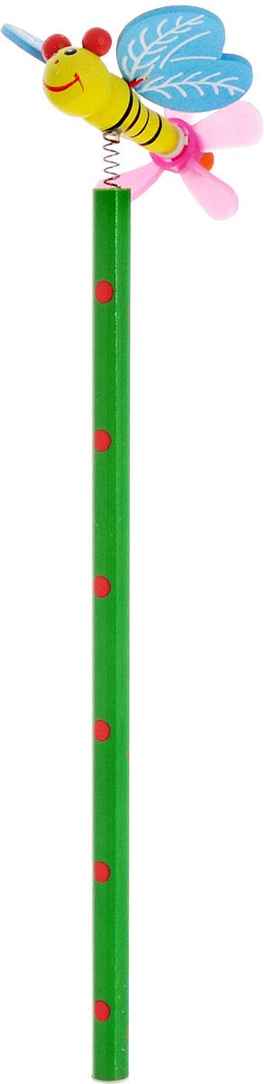 Карамба Карандаш чернографитный Насекомые Бабочка цвет корпуса зеленый2325_зеленыйЧернографитный карандаш Карамба Насекомые: Бабочка будет незаменим и для деток, которые только начинают рисовать, и для школьников. Его удобный круглый корпус изготовлен из натурального дерева. Сверху на пружинке имеется оригинальная фигурка в виде бабочки. Карандаш имеет очень прочный грифель самого высокого качества, который не крошится и не ломается при заточке. Такой забавный письменный аксессуар идеально лежит в руке и подарит массу удовольствия во время письма или рисования.
