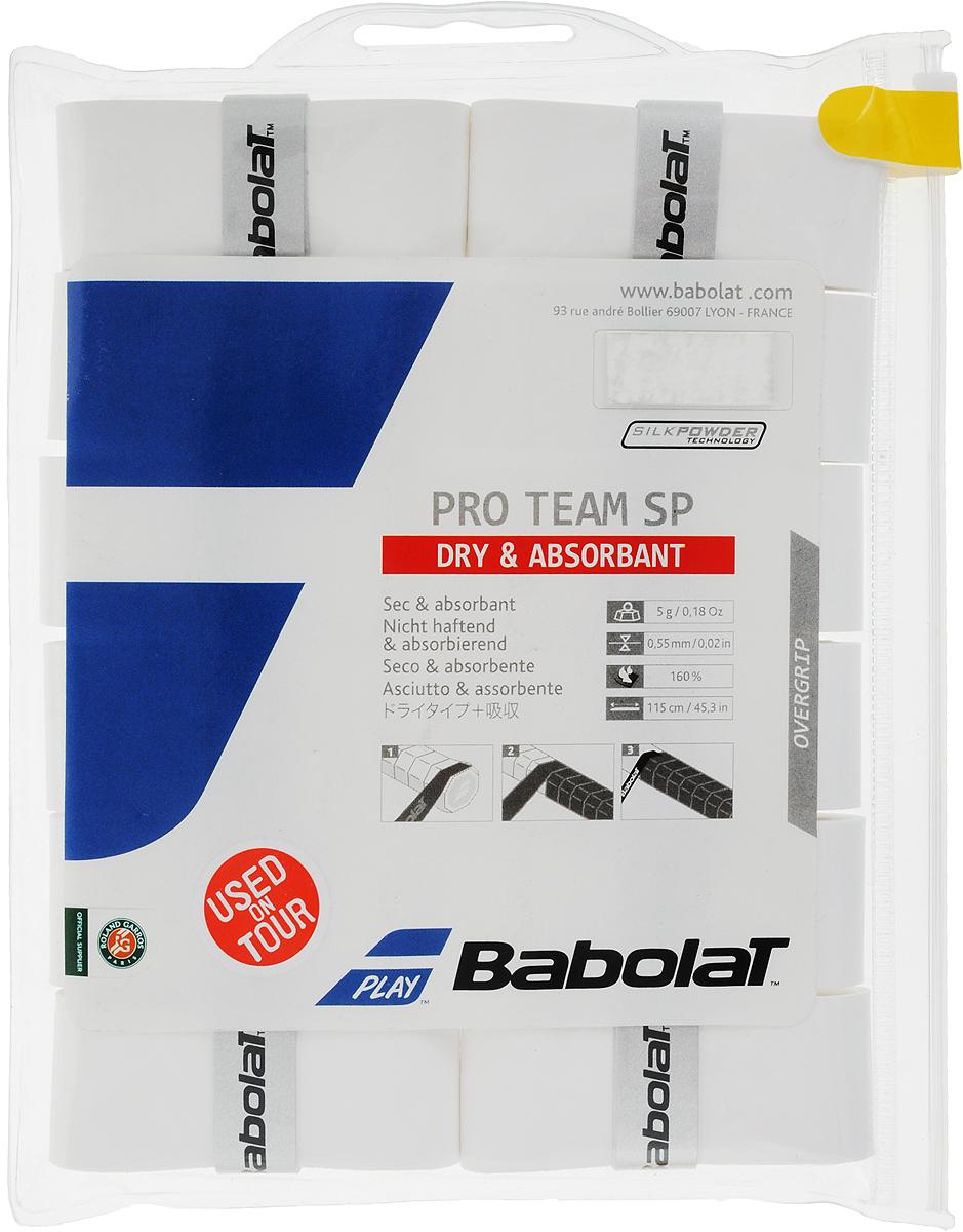 Овергрип BABOLAT PRO TEAM SP X12 (Про Тим Сп), цвет: белый654011уникальная технология поглощения влаги (220%),делает материал мягким и сухим , независимо от степени влажности рук.Используется игроками Тура.1 блистер - 12 овергрип