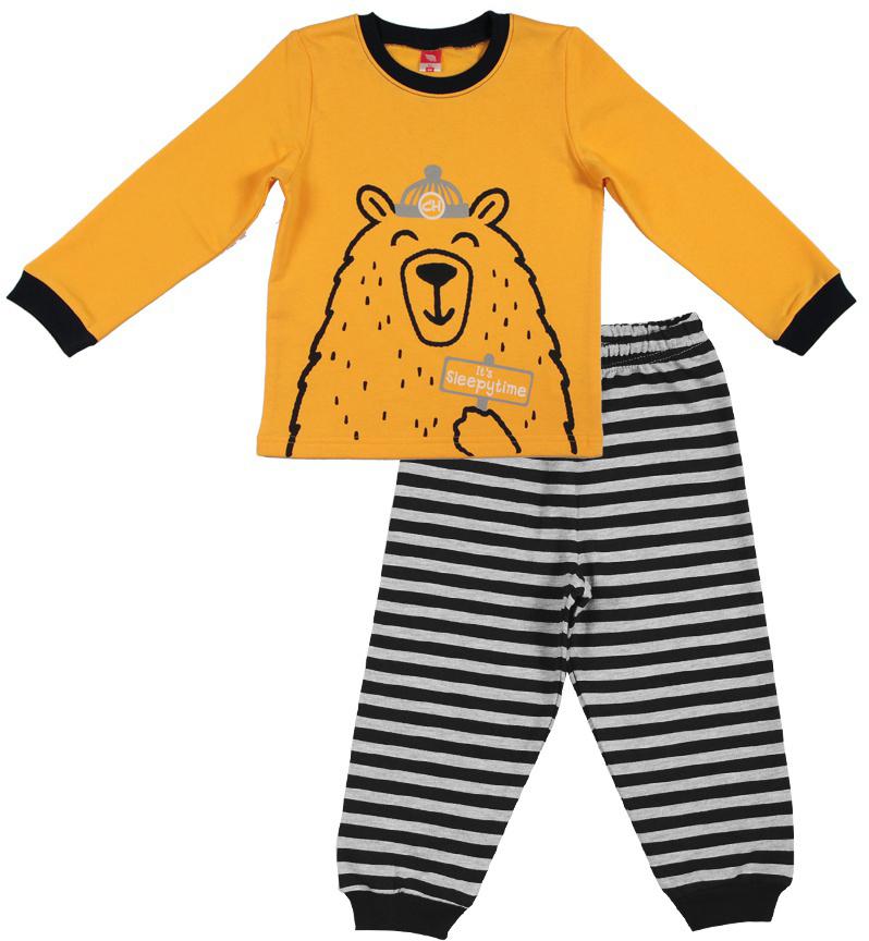 Пижама для мальчика Cherubino, цвет: желтый. CAB 5287. Размер 92CAB 5287Пижама для мальчика выполнена из утепленного трикотажа с начесом. Состоит из футболки с длинным рукавом с принтом и полосатых брючек с манжетами.