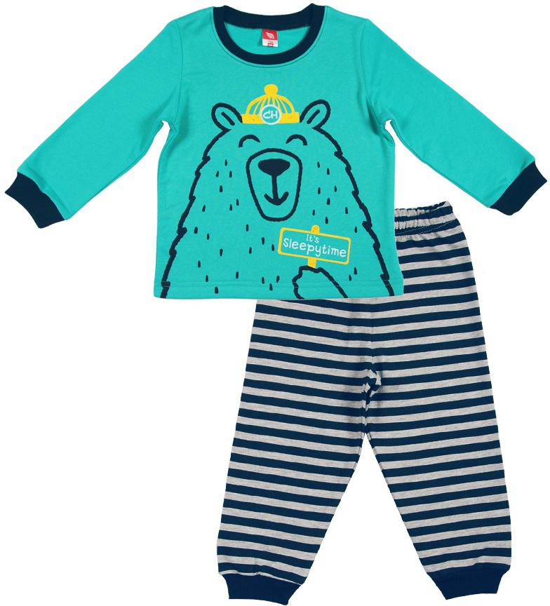 Пижама для мальчика Cherubino, цвет: бирюзовый. CAB 5287. Размер 86CAB 5287Пижама для мальчика, из утепленного трикотажа с начесом. Состоит из джемпера с принтом, и полосатых брючек на манжетах.