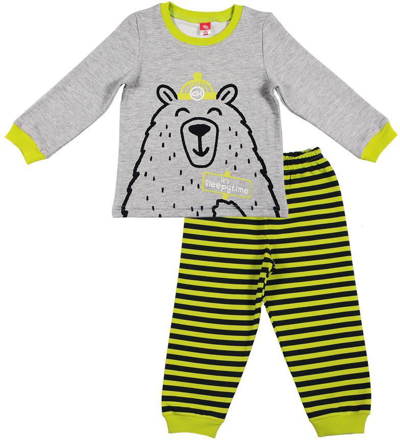 Пижама для мальчика Cherubino, цвет: серый. CAB 5287. Размер 80CAB 5287Пижама для мальчика выполнена из утепленного трикотажа с начесом. Состоит из футболки с длинным рукавом с принтом и полосатых брючек с манжетами.