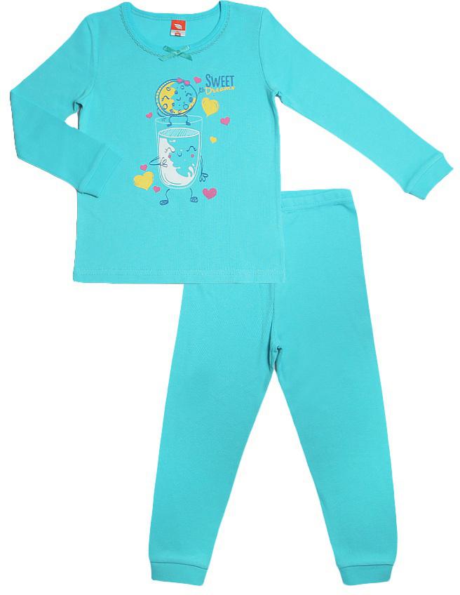 Пижама для девочки Cherubino, цвет: бирюзовый. CAB 5302. Размер 80CAB 5302Пижама для девочки выполнена из высококачественного материала и состоит из футболки с длинным рукавом и брючек. На рукавах и по низу брючин манжет. Декорирована принтом.