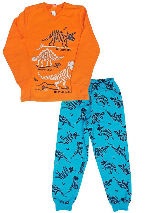 Пижама для мальчика Cherubino, цвет: оранжевый. CAJ 5298. Размер 128CAJ 5298Пижама для мальчика, из хлопкового трикотажа с начесом. Верх с V-образным вырезом, декорирован принтом динозавры. Низ набивной, на манжете.