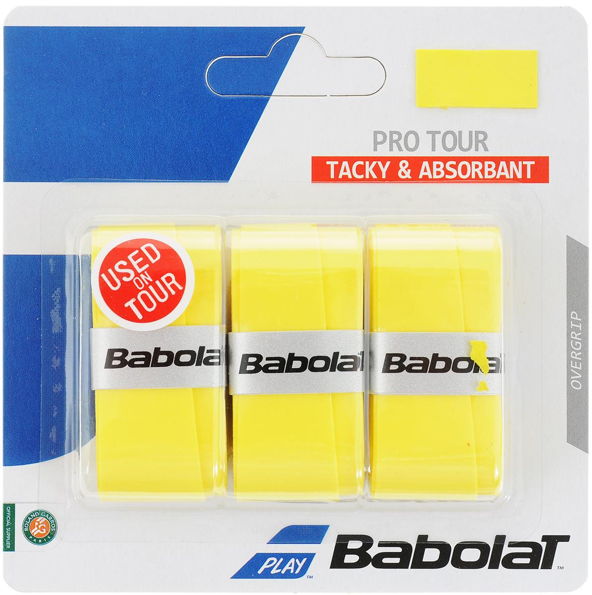 Овергрип BABOLAT PRO TOUR X3 (Про Тур Овергрип), цвет: желтый653037Овергрип с приятной, липкой на ощупь поверхностью.Отличное влагопоглощение. Очень долговечные, устойчивые к истиранию.1 блистер - 3 овергрипа