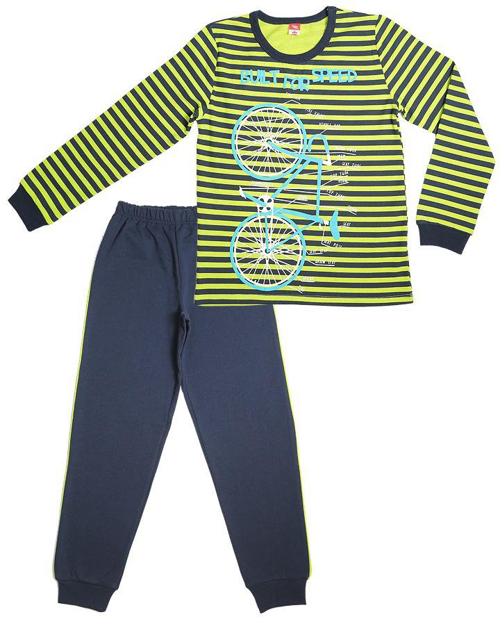 Пижама для мальчика Cherubino, цвет: зеленый. CAJ 5299. Размер 140CAJ 5299Пижама для мальчика, утепленная с начесом. Состоит из футболки с длинными рукавами с принтом и набивных брюк.