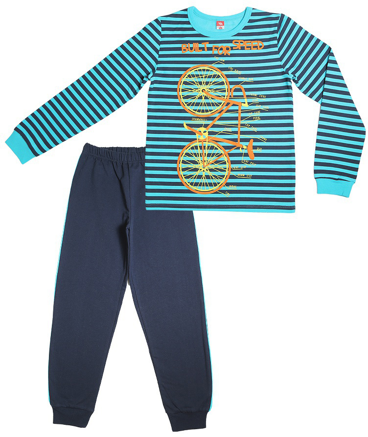 Пижама для мальчика Cherubino, цвет: бирюзовый. CAJ 5299. Размер 140CAJ 5299Пижама для мальчика, утепленная с начесом. Состоит из футболки с длинными рукавами с принтом и набивных брюк.