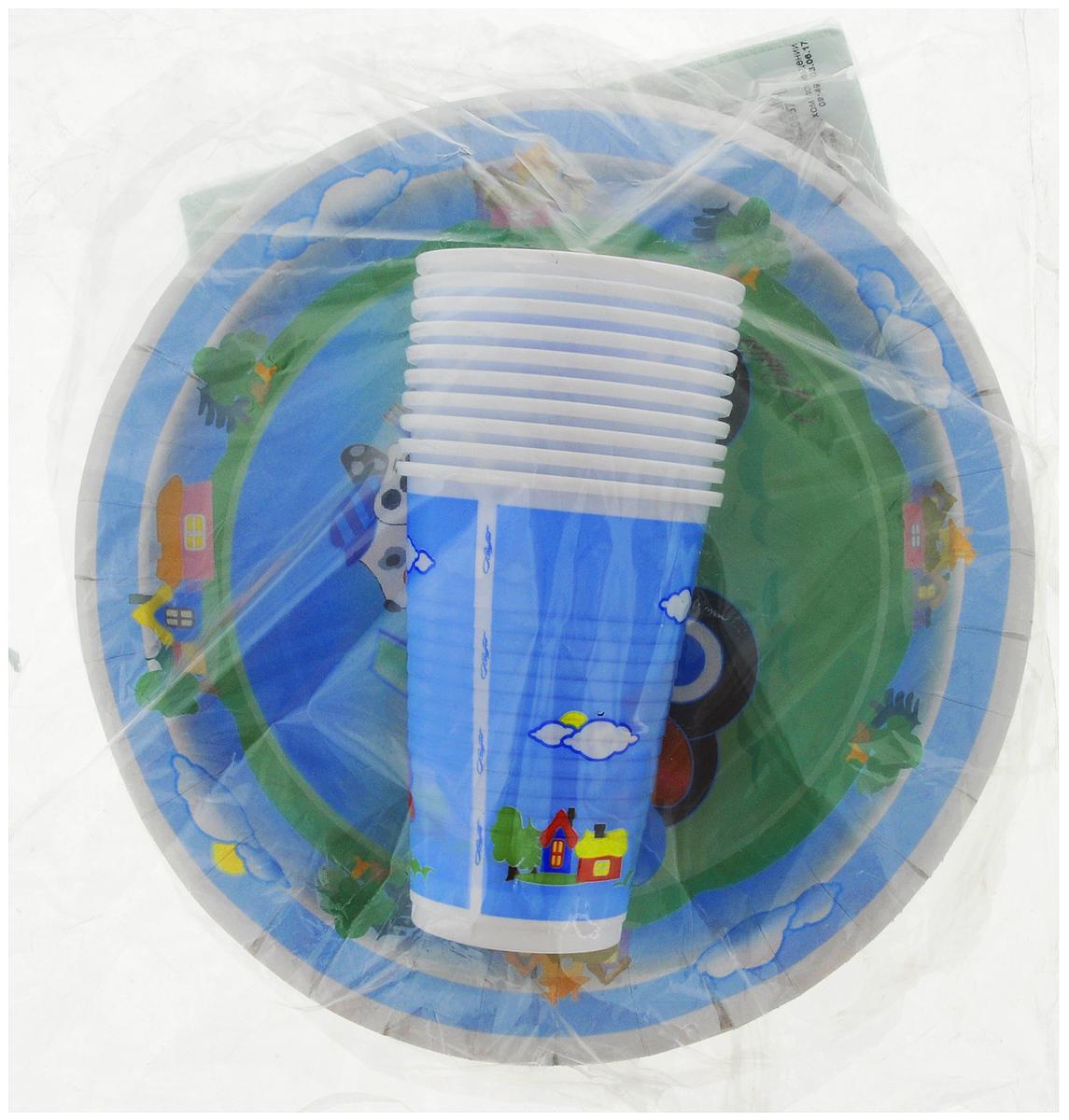 Набор одноразовой посуды Мистерия Детский, цвет: голубой, 40 предметов набор одноразовых ножей мистерия компакт 100 шт