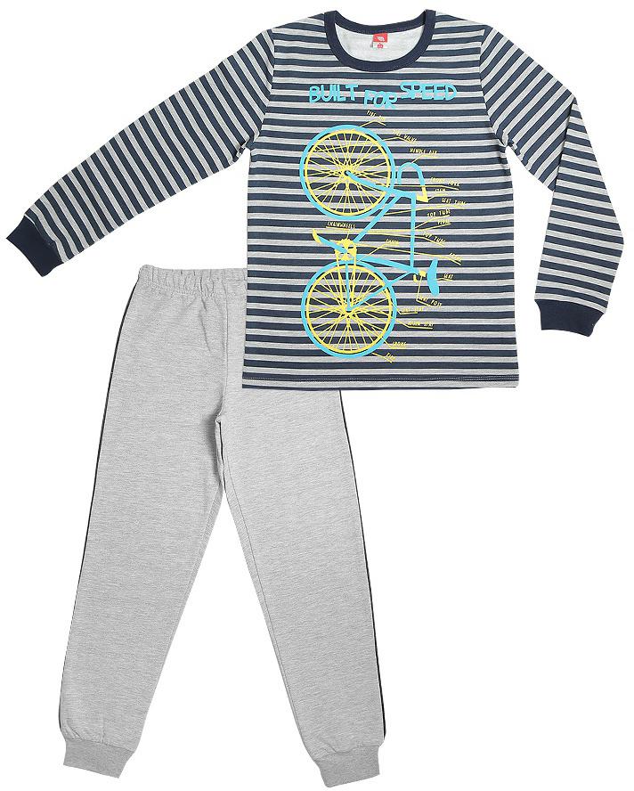 Пижама для мальчика Cherubino, цвет: серый. CAJ 5299. Размер 140CAJ 5299Пижама для мальчика, утепленная с начесом. Состоит из футболки с длинными рукавами с принтом и набивных брюк.