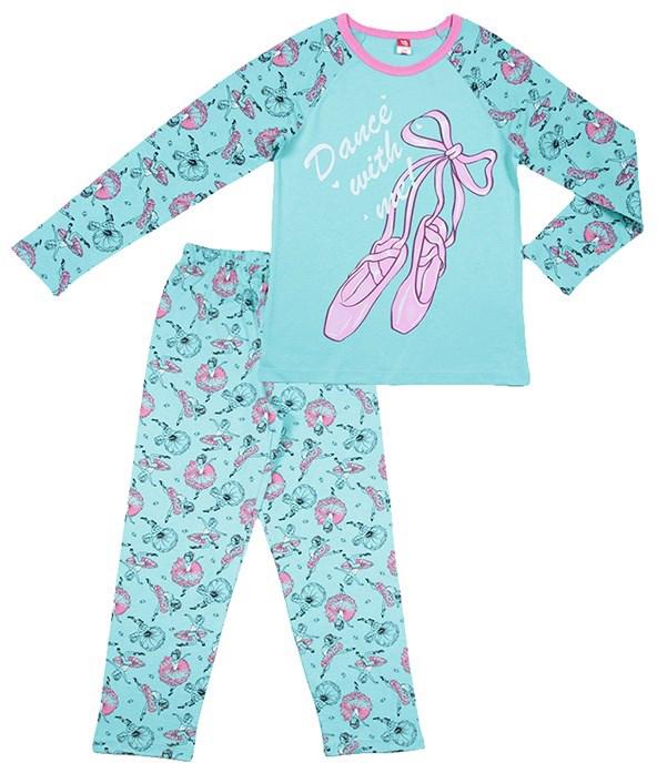 Пижама для девочки Cherubino, цвет: бирюзовый. CAJ 5314. Размер 146 пижама для мальчика cherubino цвет серый меланж caj 5298 размер 146