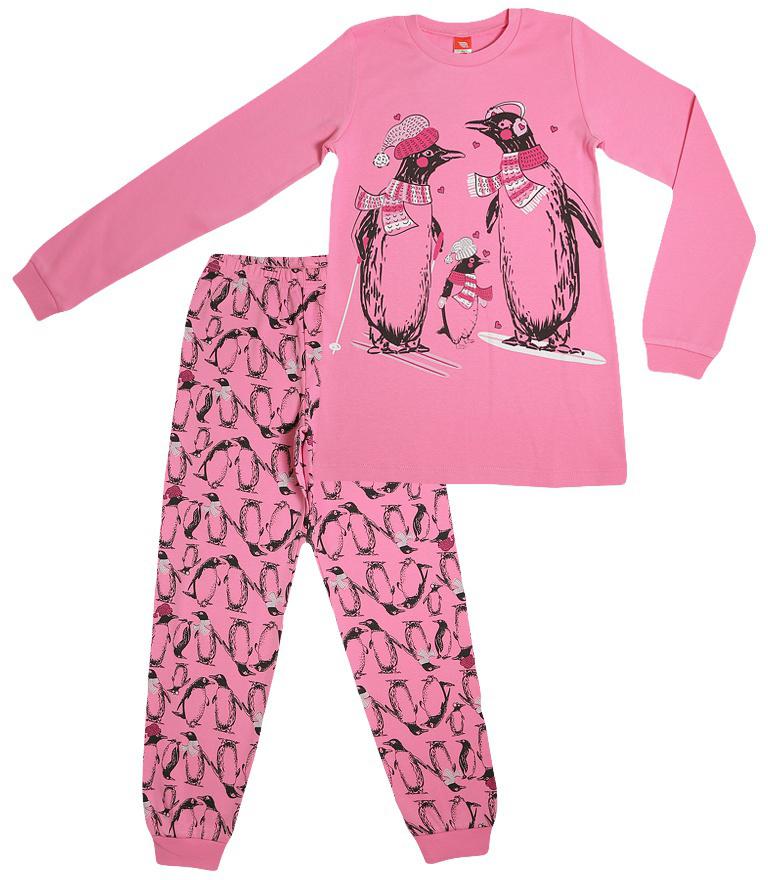 Пижама для девочки Cherubino, цвет: розовый. CAJ 5316. Размер 164CAJ 5316Пижама для девочки из мягкого хлопкового трикотажа, состоит из гладкокрашенного джемпера с контрастного цвета манжетами и набивных брючек.