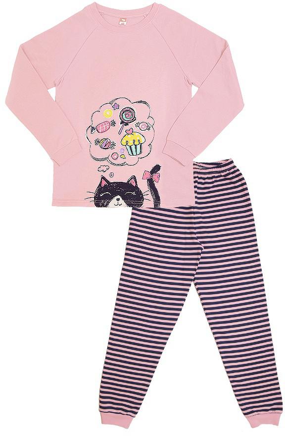 Пижама для девочки Cherubino, цвет: светло-розовый. CAJ 5317. Размер 140CAJ 5317Пижама для девочки с начесом состоит из гладкокрашенной футболки с длинными рукавами, декорированной принтом и полосатых брючек с манжетами.