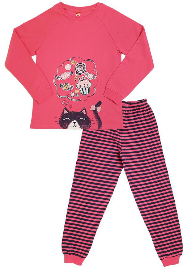Пижама для девочки Cherubino, цвет: коралловый. CAJ 5317. Размер 134CAJ 5317Пижама для девочки с начесом состоит из гладкокрашенной футболки с длинными рукавами, декорированной принтом и полосатых брючек с манжетами.