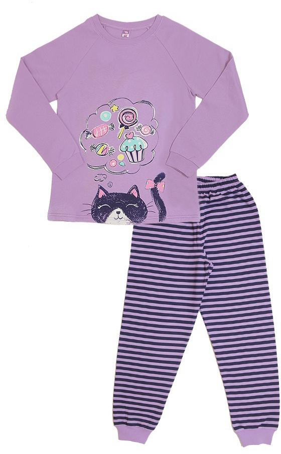 Пижама для девочки Cherubino, цвет: сиреневый. CAJ 5317. Размер 128 пижама для мальчика cherubino цвет серый меланж caj 5298 размер 146