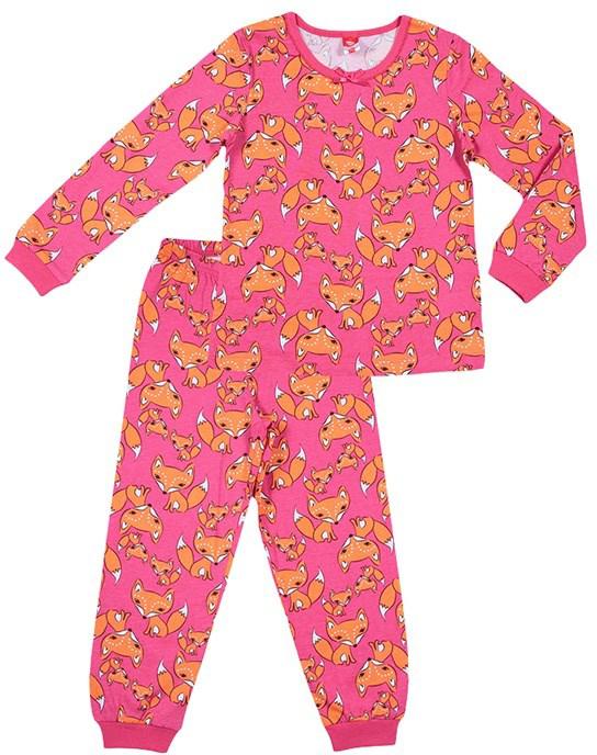 Пижама для девочки Cherubino, цвет: коралловый, лисички. CAK 5306. Размер 116CAK 5306Пижама для девочки выполнен из тонкого набивного хлопкового трикотажа. Состоит из фуьболки с длинным рукавом и брюк. По рукавам и низу брючин манжеты.