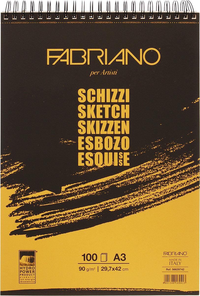 Fabriano Блокнот для зарисовок Schizzi 100 листов 5662974256629742блокноты Schizzi подходят для работы с разными сухими графическими материалами – пастелью, углем, чернографитными и цветными карандашами.Бумага для альбомов Schizzi изготавливается без добавления кислот и оптических отбеливателей и соответствует экологическим стандартам качества.