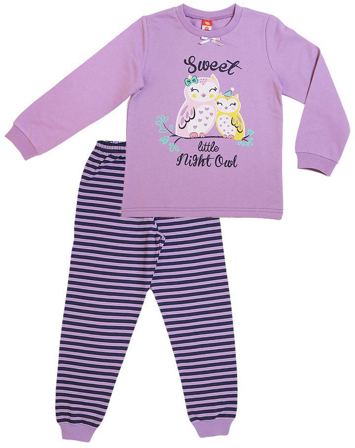 Пижама для девочки Cherubino, цвет: сиреневый. CAK 5311. Размер 110CAK 5311Пижама для девочки из трикотажа с начесом. Состоит из джемпера с принтом и полосатых брючек.