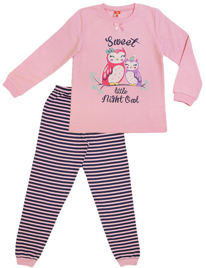 Пижама для девочки Cherubino, цвет: светло-розовый. CAK 5311. Размер 104CAK 5311Пижама для девочки выполнен из трикотажа с начесом. Состоит из джемпера с принтом и полосатых брючек.