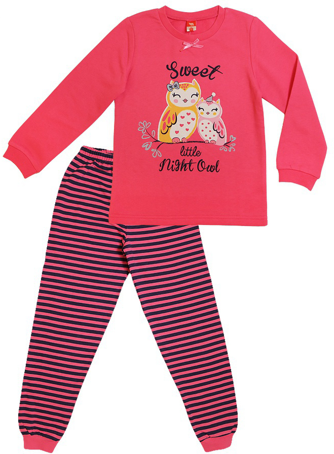 Пижама для девочки Cherubino, цвет: коралловый. CAK 5311. Размер 110CAK 5311Пижама для девочки из трикотажа с начесом. Состоит из джемпера с принтом и полосатых брючек.