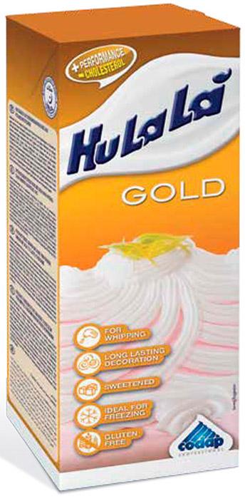 Hulala крем на растительном масле кондитерский сладкий для взбивания Голд, 1 кгМС-00006149Растительные сливки. Долго держатся на продукте. С сахаром.Идеальный ингредиент для любой выпечки, держится при положительных и отрицательных температурах. Прекрасно подойдет для мороженого, десерта семифреддо.Могут быть заморожены и разморожены без образования трещин.