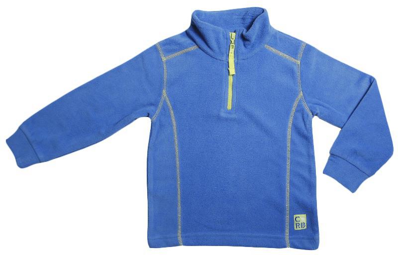 Толстовка для мальчика Cherubino, цвет: синий. CWK 61652. Размер 110CWK 61652Флисовая толстовка для мальчика, гладкокрашенная, с контрастными отстрочками. Модель с воротником-стойкой сверху застегивается на короткую молнию.