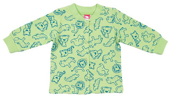 Кофта для мальчика Cherubino, цвет: зеленый. CWN 61728 (157). Размер 86CWN 61728 (157)Кофточка ясельная для мальчика выполнена из набивного трикотажа с начесом. Застегивается на кнопки. По низу рукава манжет.