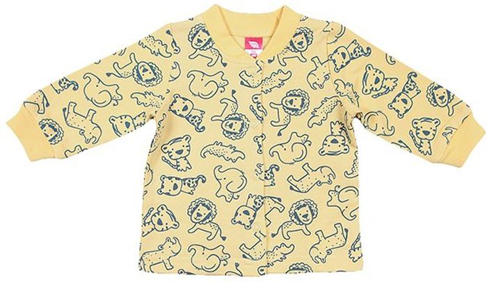 Кофта для мальчика Cherubino, цвет: желтый. CWN 61728 (157). Размер 86CWN 61728 (157)Кофточка ясельная для мальчика выполнена из набивного трикотажа с начесом. Застегивается на кнопки. По низу рукава манжет.