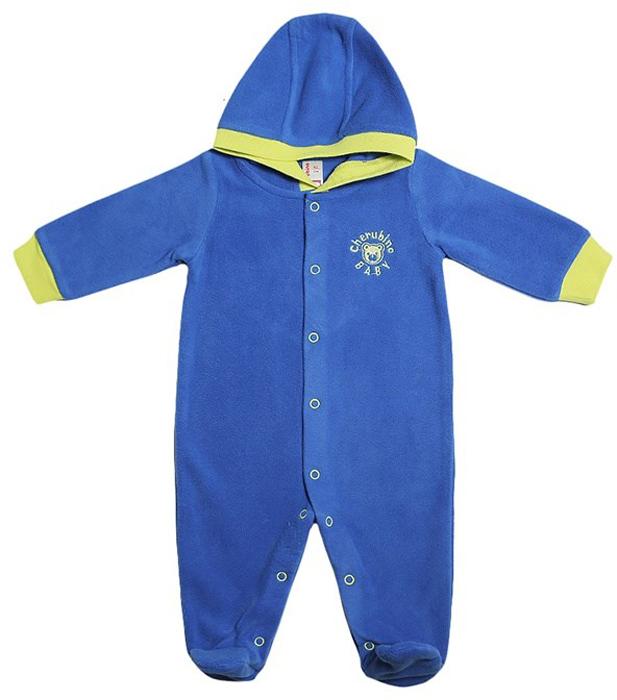 Комбинезон для мальчика Cherubino, цвет: синий. CWN 9618. Размер 80CWN 9618Флисовый комбинезон для мальчика, гладкокрашенный, с капюшоном. Застегивается на кнопки.
