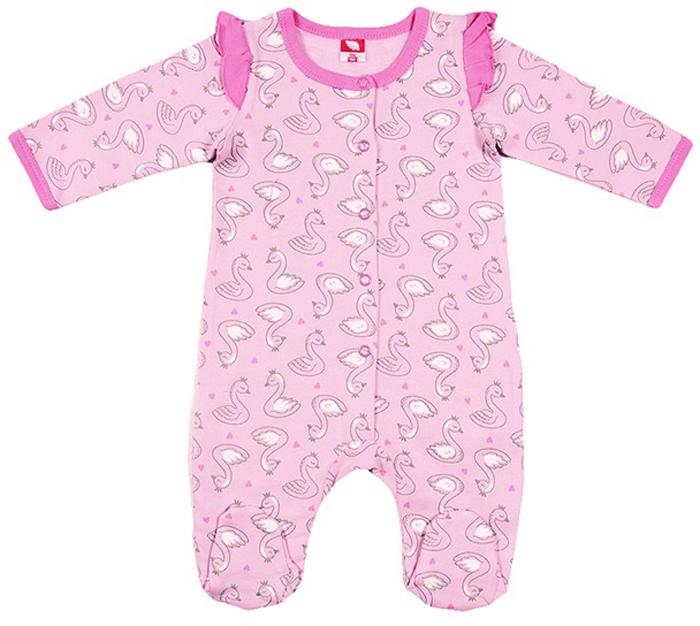 Комбинезон для девочки Cherubino, цвет: светло-розовый. CWN 9674 (156). Размер 62CWN 9674 (156)Комбинезон для девочки из набивного трикотажа с начесом. Полностью на кнопках. Верх рукава декорирован рюшкой.