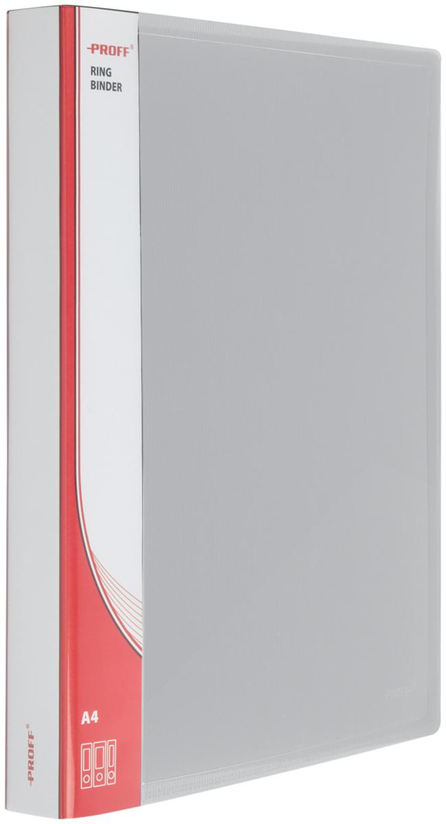 Proff Папка для бумаг Ultra на кольцах 25 мм формат A4 цвет серый03-0704Папка A4 2 кольца диаметром 25 мм и внутренним карманом серая полупрозрачная 0.70 мм Proff. Ultra, изготовленная из высококачественного полипропилена, предназначенный для хранения и транспортировки рабочих бумаг и документов формата до А4.