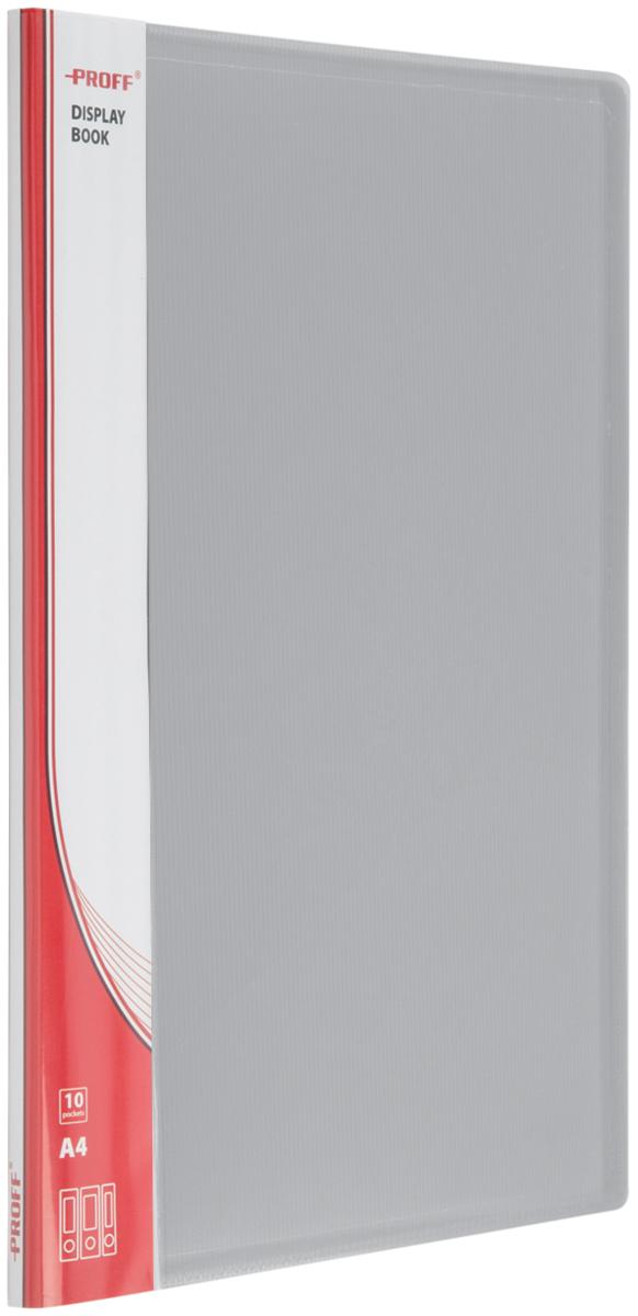 Proff Папка для бумаг Ultra с 10 файлами формат A4 цвет серый03-0709Папка A4 с 10 вкладышами и внутренним карманом серая полупрозрачная 0.80 мм Proff. Ultra, изготовленная из высококачественного полипропилена, предназначенный для хранения и транспортировки рабочих бумаг и документов формата до А4.
