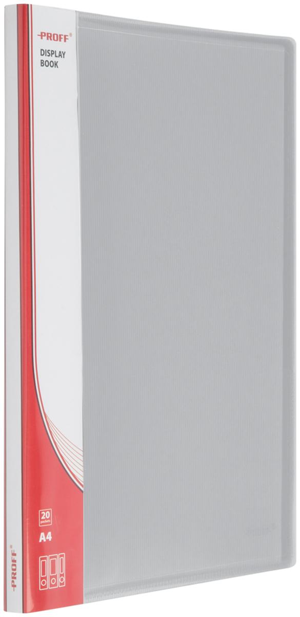 Proff Папка для бумаг Ultra с 20 файлами формат A4 цвет серый03-0714Папка A4 с 20 вкладышами и внутренним карманом серая полупрозрачная 0.80 мм Proff. Ultra, изготовленная из высококачественного полипропилена, предназначенный для хранения и транспортировки рабочих бумаг и документов формата до А4.