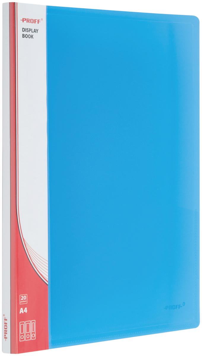 Proff Папка для бумаг Ultra с 20 файлами формат A4 цвет синий03-0715Папка A4 с 20 вкладышами и внутренним карманом синяя полупрозрачная 0.80 мм Proff. Ultra, изготовленная из высококачественного полипропилена, предназначенный для хранения и транспортировки рабочих бумаг и документов формата до А4.