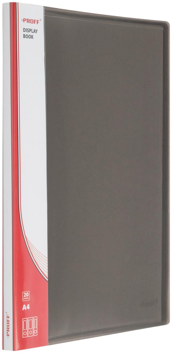 Proff Папка для бумаг Ultra с 20 файлами формат A4 цвет черный03-0716Папка A4 с 20 вкладышами и внутренним карманом черная полупрозрачная 0.80 мм Proff. Ultra, изготовленная из высококачественного полипропилена, предназначенный для хранения и транспортировки рабочих бумаг и документов формата до А4.