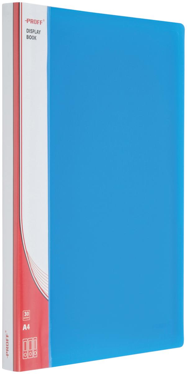 Proff Папка для бумаг Ultra с 30 файлами формат A4 цвет синий03-0720Папка A4 с 30 вкладышами и внутренним карманом синяя полупрозрачная 1.00 мм Proff. Ultra, изготовленная из высококачественного полипропилена, предназначенный для хранения и транспортировки рабочих бумаг и документов формата до А4.