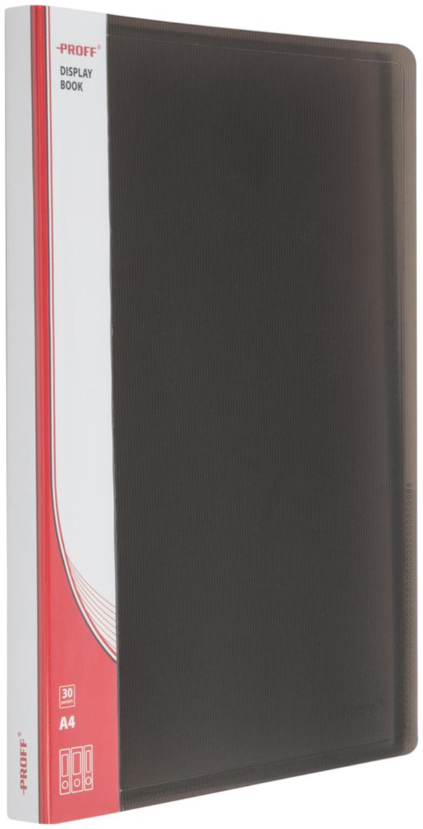Proff Папка для бумаг Ultra с 30 файлами формат A4 цвет черный03-0721Папка A4 с 30 вкладышами и внутренним карманом черная полупрозрачная 1.00 мм Proff. Ultra, изготовленная из высококачественного полипропилена, предназначенный для хранения и транспортировки рабочих бумаг и документов формата до А4.