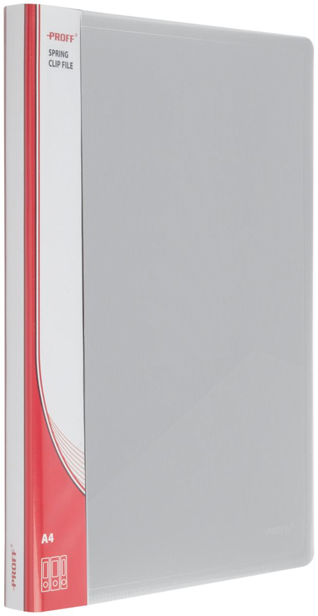 Proff Папка-скоросшиватель Ultra формат A4 цвет серый03-0729Папка A4 с боковым пружинным скоросшивателем и внутренним карманом серая полупрозрачная 0.80 мм Proff. Ultra, изготовленная из высококачественного полипропилена, предназначенный для хранения и транспортировки рабочих бумаг и документов формата до А4.