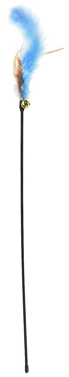 Игрушка для кошек V.I.Pet Дразнилка, с колокольчиком, цвет: черный, голубой, коричневый, длина 61 см игрушка для кошек beeztees дразнилка с шариком и с 6 помпонами 60см