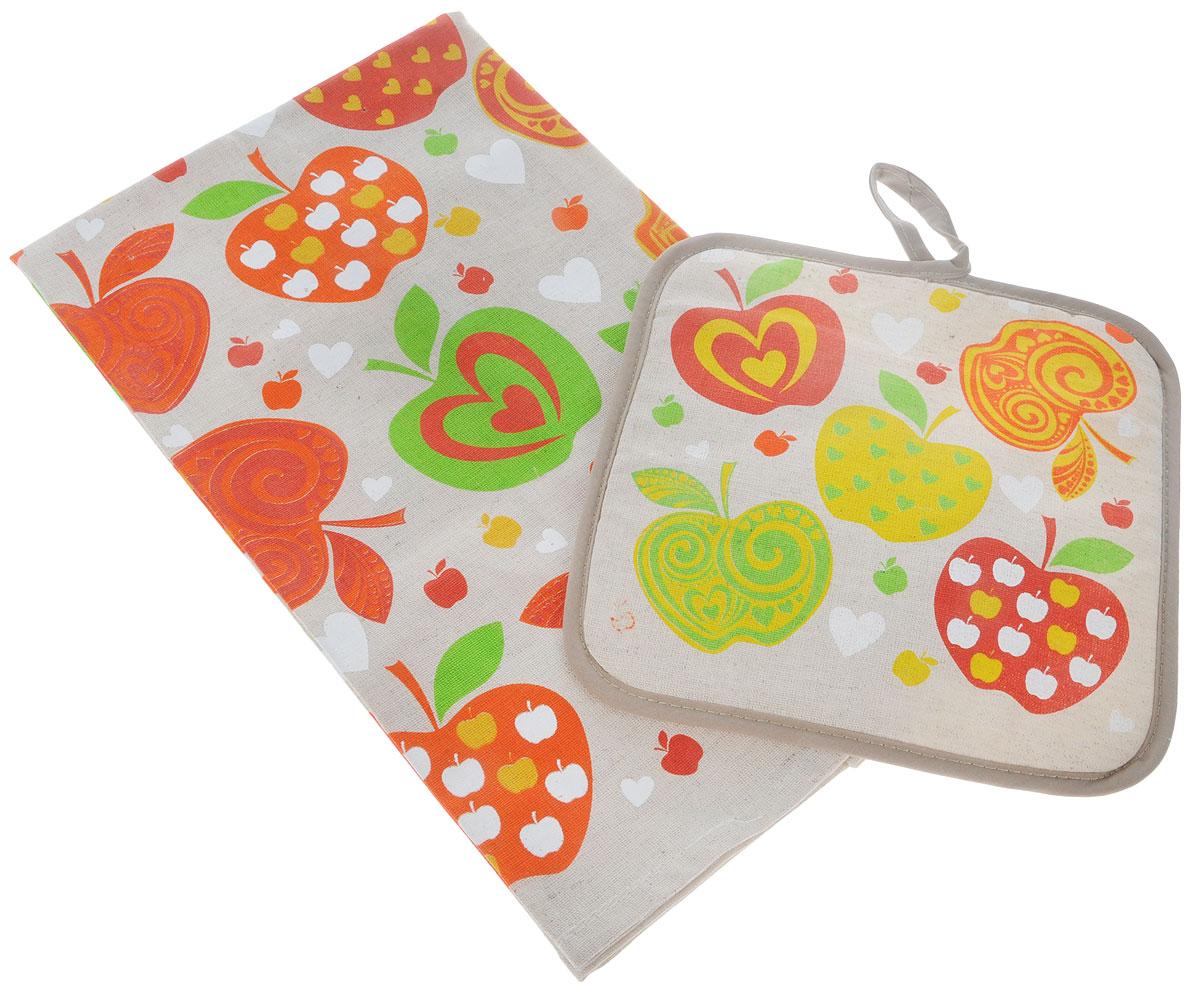 Набор кухонный От Шефа Оранжевые яблоки, 2 предмета627-002_оранжевые яблокиКухонный набор От Шефа Оранжевые яблоки, выполненный из 50% хлопка и 50% льна, состоит из прихватки и прямоугольного полотенца. Предметы набора оформлены оригинальным принтом. Полотенце прекрасно впитывает влагу, легко стирается, хорошо сохраняет форму и цвет. Прихватка удобная, мягкая и практичная. Она защитит ваши руки и предотвратит появление ожогов. С помощью текстильной петельки прихватку можно подвесить на крючок.Кухонный набор От Шефа Пирожное станет незаменимым помощником на вашей кухне. Яркий и оригинальный дизайн вдохновит вас на новые кулинарные шедевры. Размер полотенца: 45 х 60 см. Размер прихватки: 18 х 18 см.