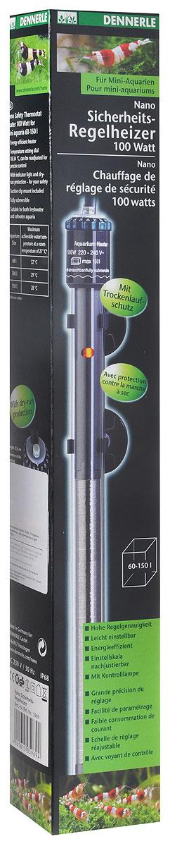 Нагреватель погружной Dennerle Nano Heater, с терморегулятором, для аквариумов 60-150 л, 100 ВтDEN5969Погружной нагреватель Dennerle Nano Heater- высокоэффективный энергосберегащуй прибор. При постоянной циркуляции воды тепло, вырабатываемое прибором, используется максимально эффективно. Нагреватель облаадет свойством водонепроницаемости, для применения в пресноводных и морских аквариумах. Нагреватель имеет защиту от перегрева.Особенности: Для аквариумов объемом 60 - 150 литров. Энергосберегающий обогрев. Диск установки температуры 18 - 34°С для точной регулировки. С контрольной лампочкой и защитой от сухого включения. С держателем на присосках. Может целиком погружаться в воду. Подходит для пресноводных и морских аквариумов. Длина: 23 см.Длина нагревательного стержня: 2,4 см. Длина сетевого кабеля: 140 см.