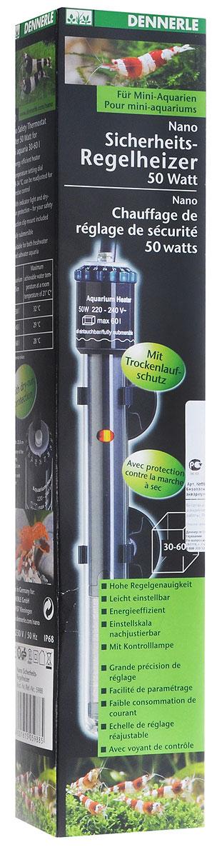 Нагреватель погружной Dennerle Nano Heater, с терморегулятором, для аквариумов 30-60 л, 50 ВтDEN5988Погружной нагреватель Dennerle Nano Heater - это высокоэффективный энергосберегающий прибор, используемый в пресноводных и морских аквариумах. При постоянной циркуляции воды тепло, вырабатываемое прибором, используется максимально эффективно. Нагреватель имеет защиту от перегрева.Особенности: Для аквариумов объемом 30 - 60 литров. Энергосберегающий обогрев. Диск установки температуры 18 - 34°С для точной регулировки. С контрольной лампочкой и защитой от сухого включения. С держателем на присосках. Может целиком погружаться в воду.