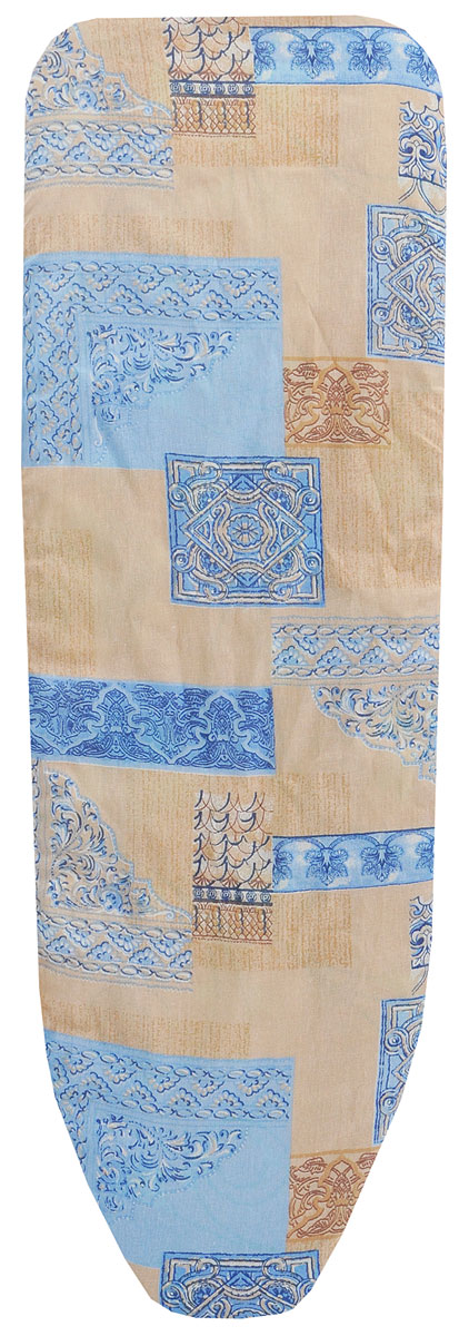 Чехол для гладильной доски Eva, с поролоном, цвет: бежевый, голубой, 119 х 37 см чехол для гладильной доски brabantia ящерица с войлоком 124 см х 38 см цвет голубой 265006