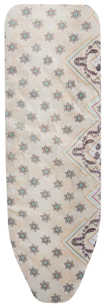 Чехол для гладильной доски Eva, с поролоном, цвет: бежевый, зеленый, 119 х 37 см чехол для гладильной доски paterra цветы с поролоном цвет кремовый сиреневый 146 х 55 см