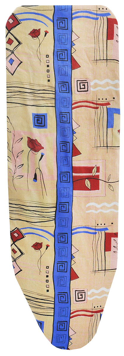 Чехол для гладильной доски Eva Узоры, с поролоном, на резинке, цвет: бежевый, синий, 129 х 46 чехол для гладильной доски paterra цветы с поролоном цвет кремовый сиреневый 146 х 55 см
