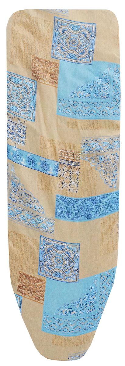 Чехол для гладильной доски Eva Узоры, с поролоном, на резинке, цвет: бежевый, голубой, 129 х 45 чехол для рукава гладильной доски leifheit цвет голубой 52 х 12 см