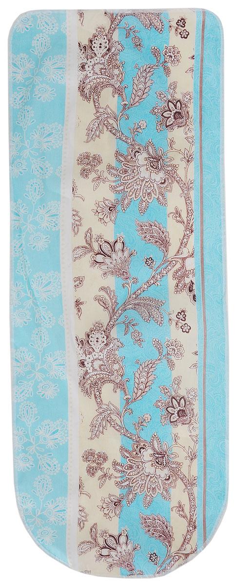 Чехол для гладильной доски Detalle, универсальный, цвет: голубой, бежевый, коричневый, 125 х 47 смЕ1301_голубой, бежевый, коричневыйУниверсальный чехол для гладильной доски Detalle, выполненный из хлопка с подкладкой из мягкого войлокообразного полотна (ПЭФ), предназначен для защиты или замены изношенного покрытия гладильной доски. Чехол снабжен стягивающим шнуром, при помощи которого вы легко отрегулируете оптимальное натяжение чехла и зафиксируете его на рабочей поверхности гладильной доски.Из войлокообразного полотна вы можете вырезать подкладку любого размера, подходящую именно для вашей доски. Этот качественный чехол обеспечит вам легкое глажение. Он предотвратит образование блеска и отпечатков металлической сетки гладильной доски на одежде. Войлокообразное полотно практично и долговечно в использовании. Размер чехла: 125 x 47 см.Максимальный размер доски: 120 х 42 см.Размер войлочного полотна: 130 х 52 см.