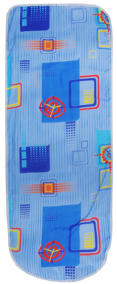 Чехол для гладильной доски Eva, цвет: синий, голубой, красный, 125 х 47 смЕ13_синий, голубой, красныйХлопчатобумажный чехол Eva с поролоновым слоем продлит срок службы вашей гладильной доски. Чехол снабжен прочной резинкой, при помощи которой вы легко зафиксируете его на рабочей поверхности гладильной доски.Размер чехла: 125 х 47 см. Максимальный размер доски: 116 х 40 см.