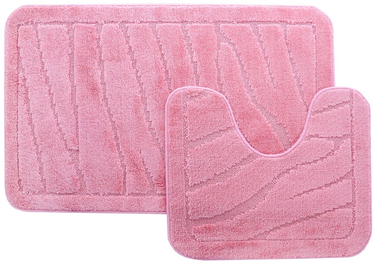 Набор ковриков для ванной MAC Carpet Рома. Линии, цвет: розовый, 60 х 100 см, 50 х 60 см, 2 шт11649-10004_розовыйНабор MAC Carpet Рома. Линии состоит из двух ковриков для ванной комнаты, один из которых имеет вырез под унитаз. Ворс выполнен из полипропилена. Противоскользящее основание изготовлено из термопластичной резины. Коврики мягкие и приятные на ощупь, отлично впитывают влагу и быстро сохнут. Высокая износостойкость ковриков и стойкость цвета позволит вам наслаждаться покупкой долгие годы.Размеры ковра для ванной: 100 х 61 смРазмеры ковра с вырезом под унитаз: 61 х 50 см