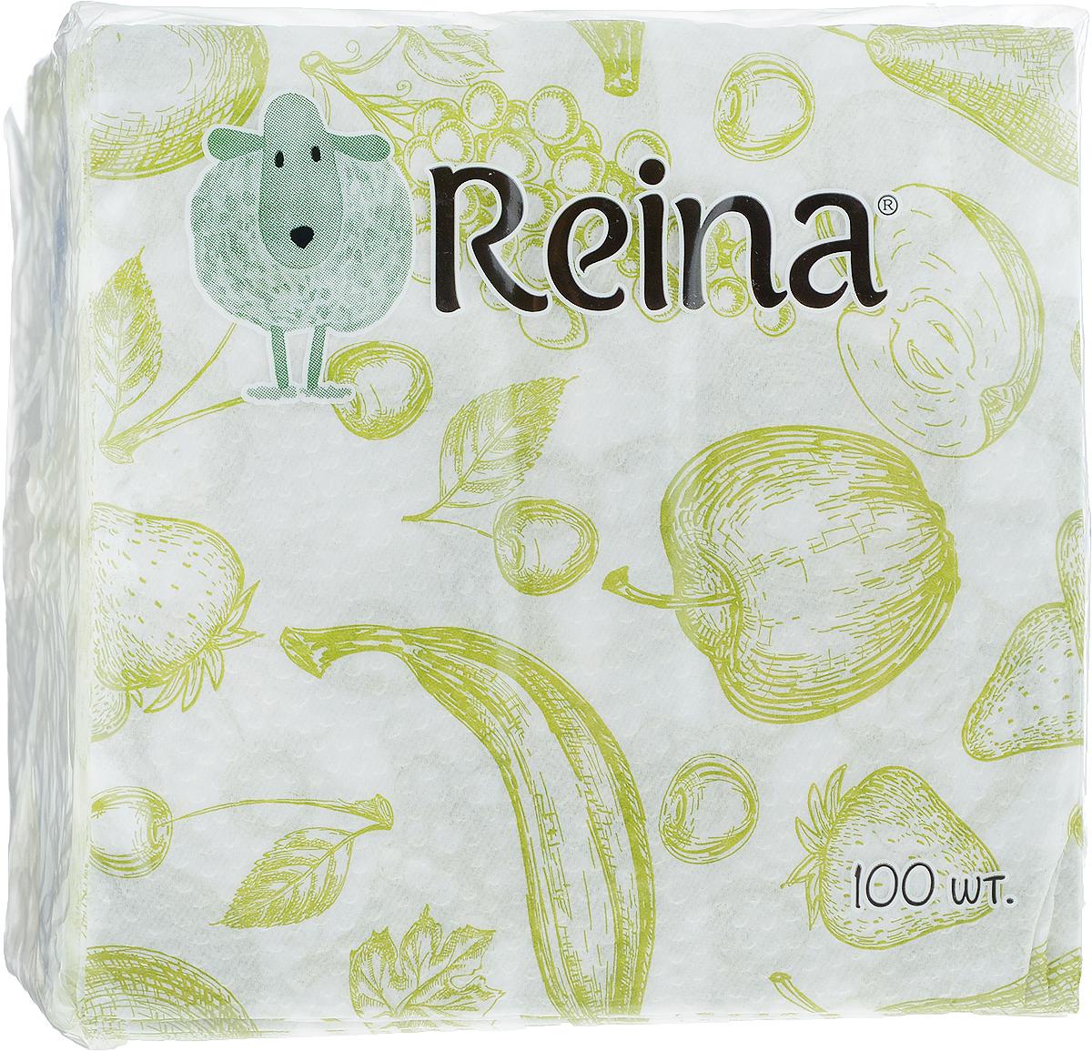 Салфетки бумажные Reina, однослойные, цвет: оливковый, белый, 24 х 24 см, 100 штPUL-000220кк_оливковый, белый, фруктыСалфетки бумажные Reina, выполненные из натуральной целлюлозы, станут отличным дополнением любого праздничного стола. Они отличаются необычной мягкостью и оригинальностью.Размер салфетки: 24 х 24 см.Количество слоев: 1.